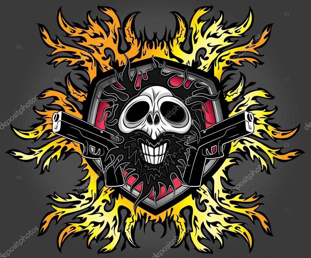 Punk Zombie Ghost Skull Glock Pistols Fire Flames Background Stock