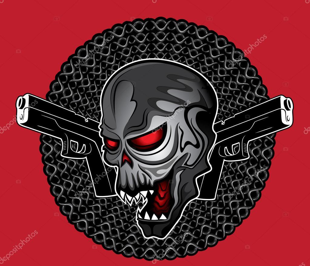 Demonic Evil Human Skull Glock Pistols Design Vector Illustration