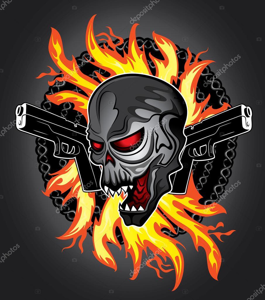 Punk Cyber Human Skull Glock Pistols Fire Flames Background Stock