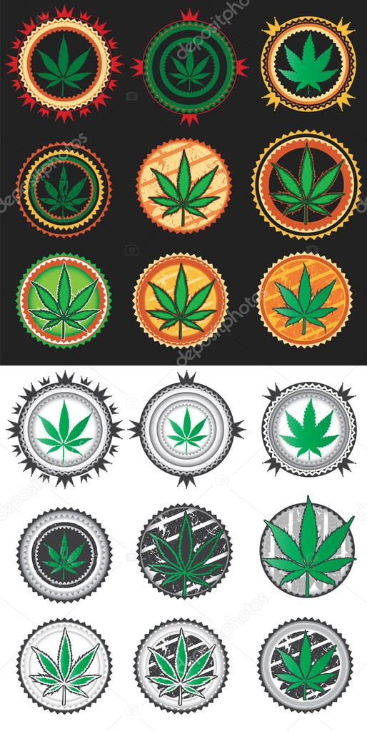 Marijuana cannabis green leaf symbol stamps vector illustration