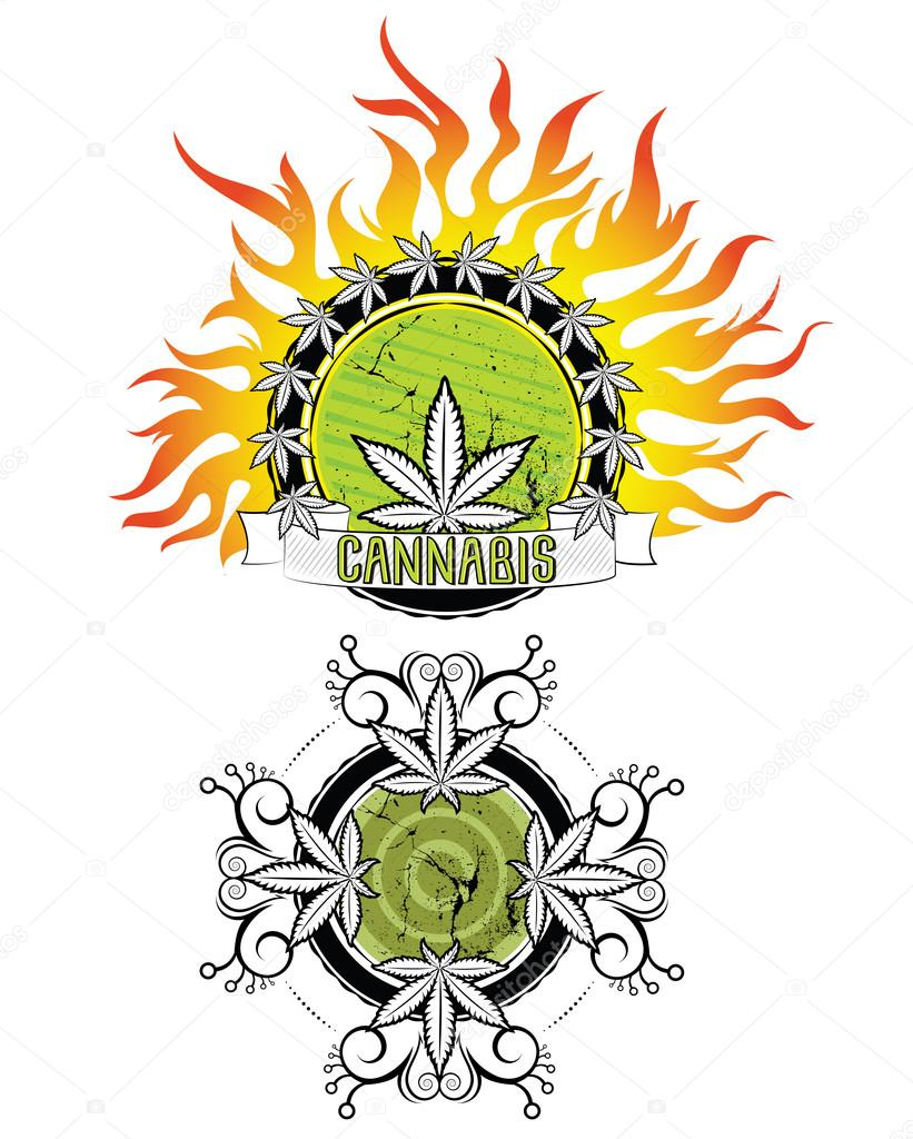 marijuana leaf fire flames background design vector illustration