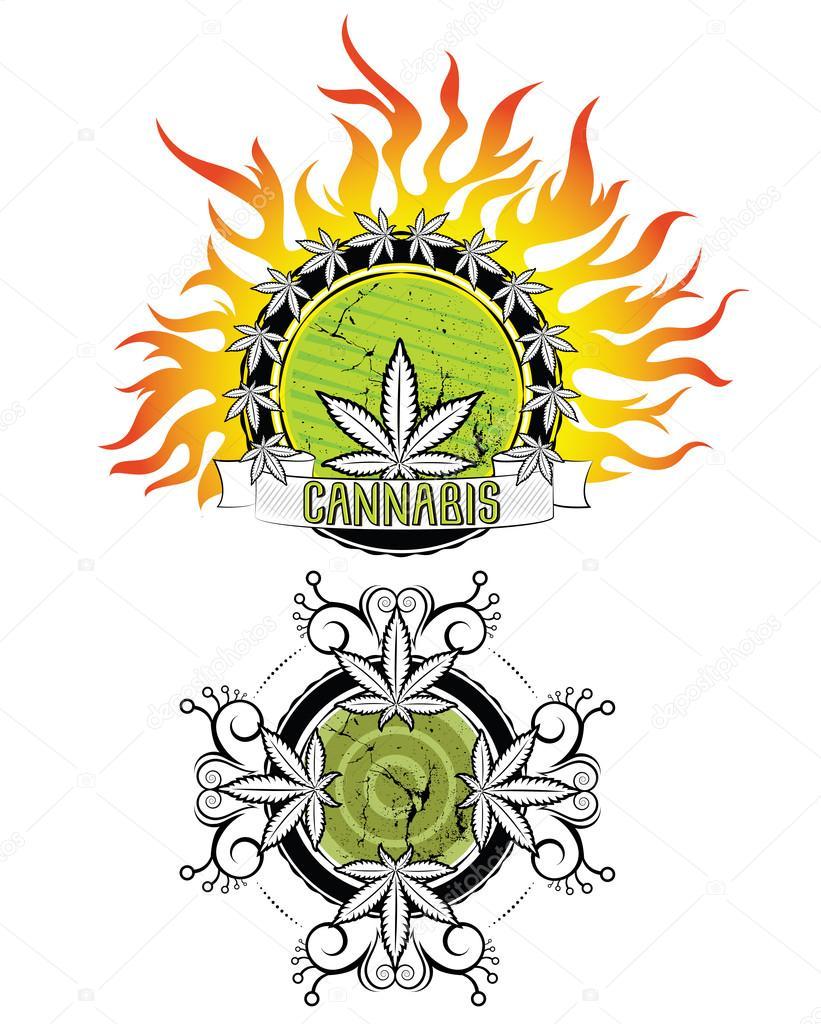 marijuana leaf fire flames background design vector illustration
