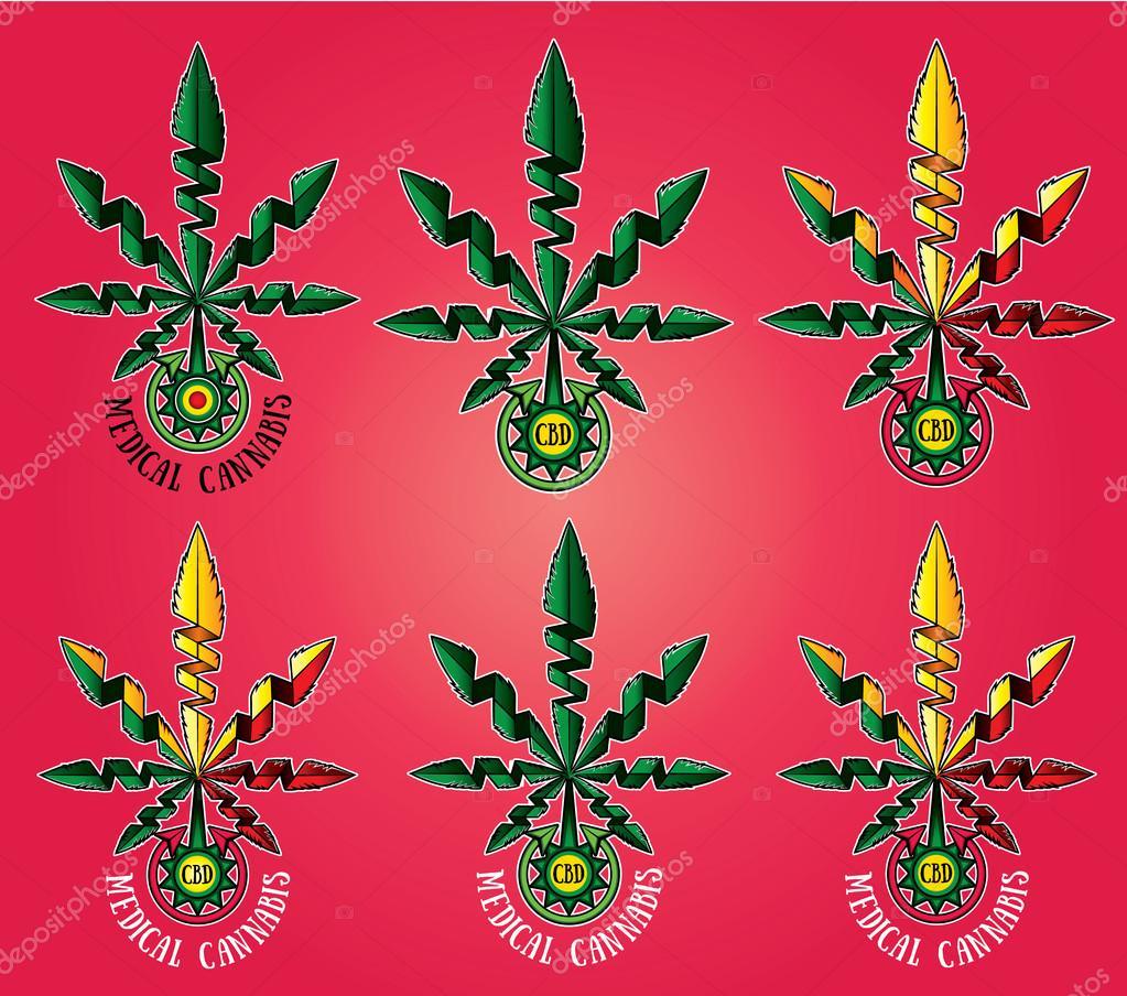 Cdb Dessin Symbole De La Feuille Cannabis Medical Photographie