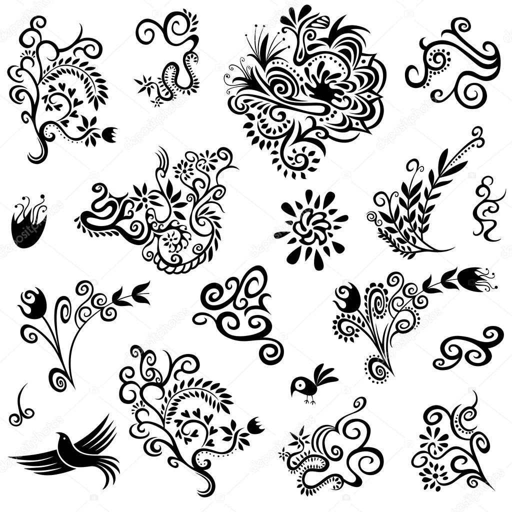 Decorative floral organic natural designs with flowers leaves blossoms and doves