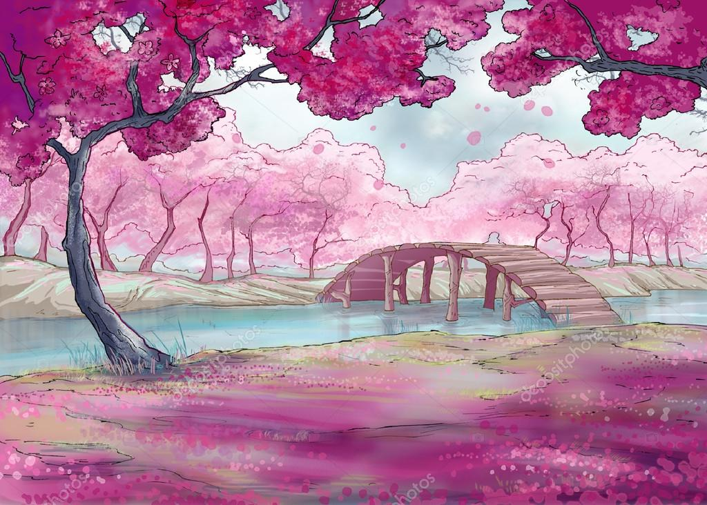 Authors Illustration Of Cherry Blossom In Japanese Garden With A Pond And Bridge Photo By PersonaNNK