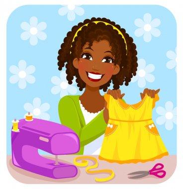 woman sewing a dress