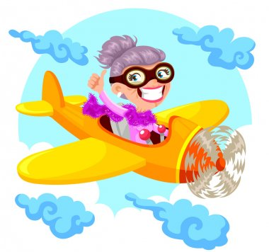 granny flying and airplane