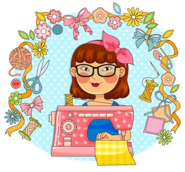 girl with sewing machine and related items