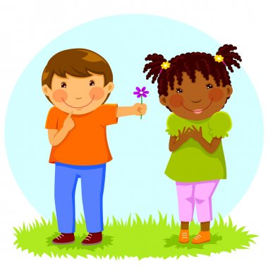 boy gives flower to girl
