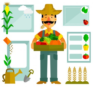 flat design set - farmer and vegetables