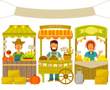 Farmers selling their products on wooden stalls stock vector