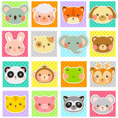 Collection of cute animals over polka dotted patterns (swatches included). stock vector