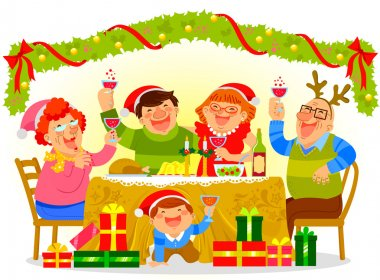Family Christmas Dinner Premium Vector Download For Commercial Use Format Eps Cdr Ai Svg Vector Illustration Graphic Art Design