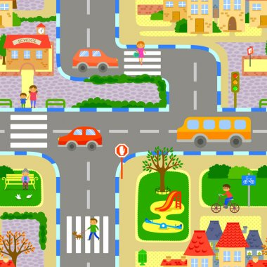 Seamless image of a lively city clip art vector