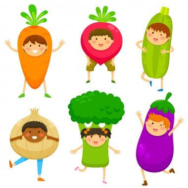 kids dressed like vegetables