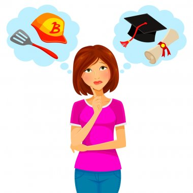 Worried woman thinking about college and part time job stock vector