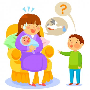 Kid asks his mother about babies and she tells him about the stork clip art vector