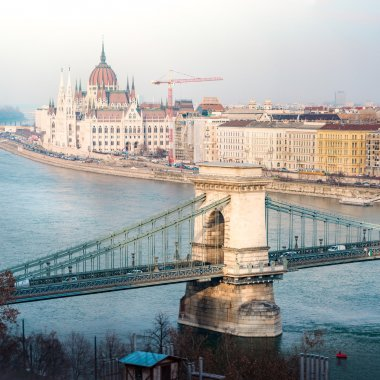 Parliament building and Chain Bridge in Budapest