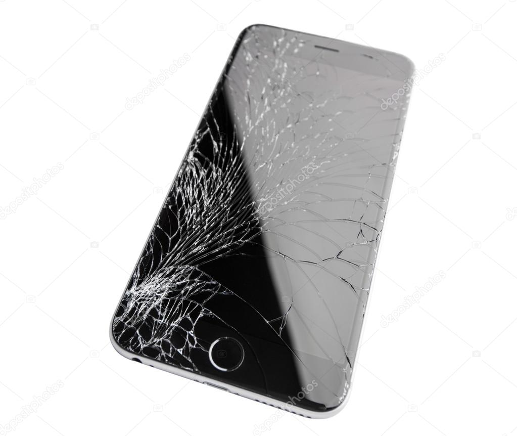Moscow russia november 22 2015 photo of iphone 6 plus with broken display modern smartphone with damaged glass screen isolated on white background