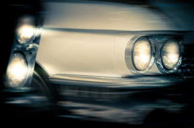 Headlights of vintage cars