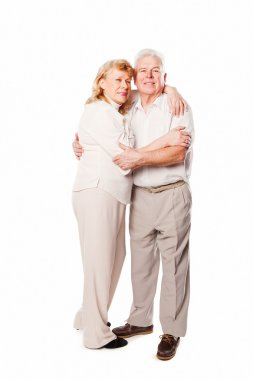 Happy smiling senior couple in love. Isolated on white background.