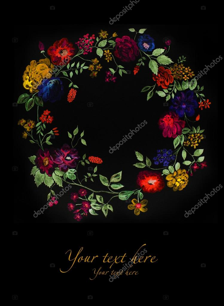 Watercolor wreath of flowers can be used as greeting card, invitation card for wedding, birthday and other holiday