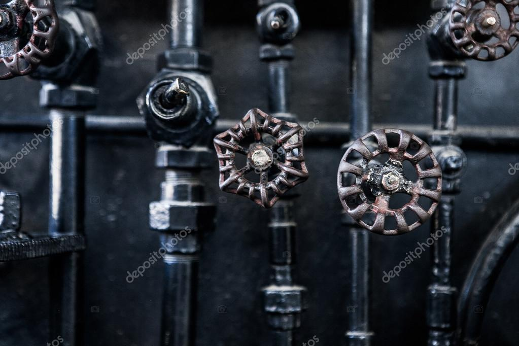 Background of engine room detail in a steam locomotive