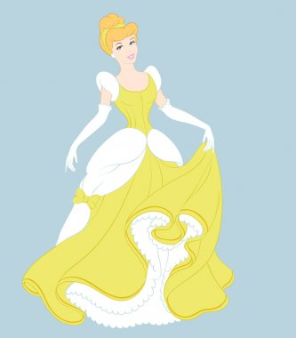 cute Disney princess vector in yellow dress