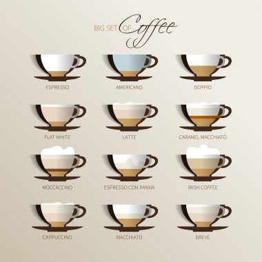 Set of coffee types and their preparation