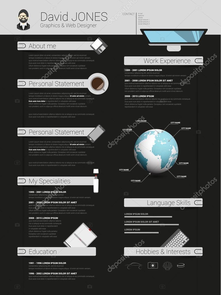 mod u00e8le minimaliste de cv curriculum vitae  u2014 image