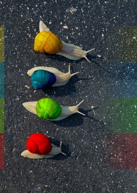 colorful Snails run on road