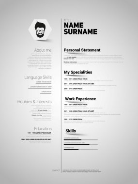 cv, application template