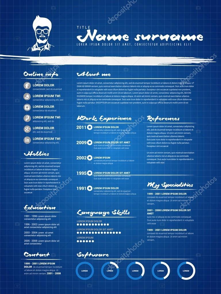 CV für Job, Lebenslauf Vorlage — Stockvektor © matju78 #89882756