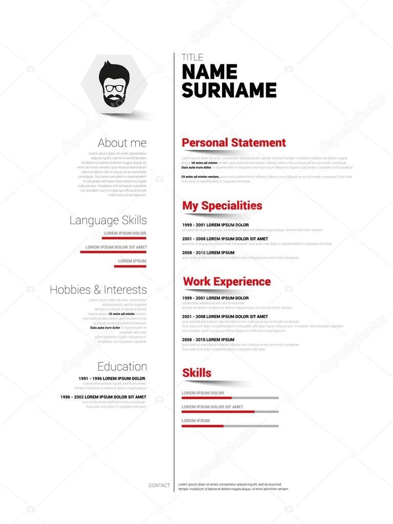 CV für Job, Lebenslauf Vorlage — Stockvektor © matju78 #89882828