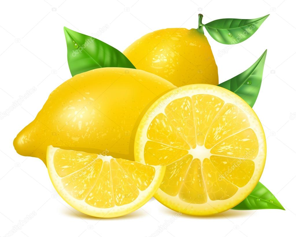 Fresh lemons with leaves.