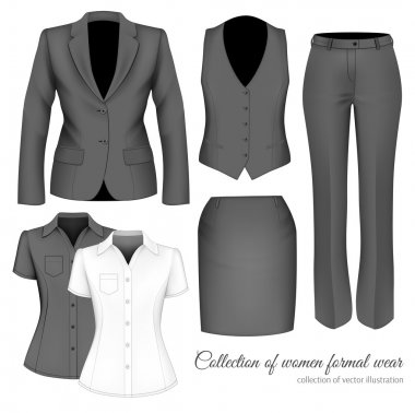The Outfits for the Professional Business Women.  Formal wear for women. Vector illustration. stock vector