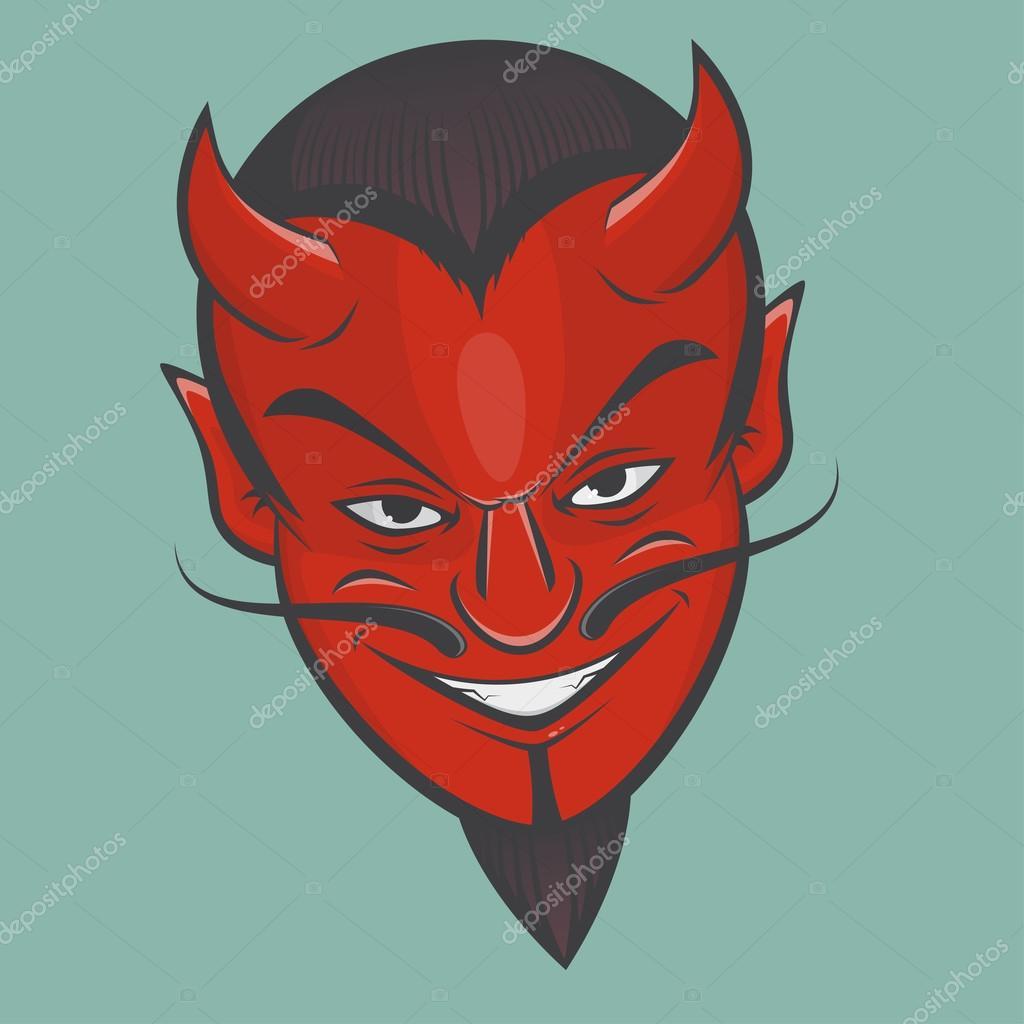 siniestras imágenes prediseñadas cara de Satanás — Vector de stock ...