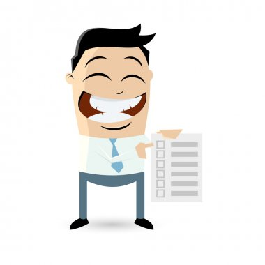 Funny businessman with checklist