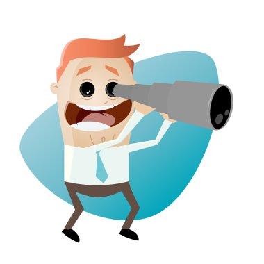 Funny cartoon businessman with telescope