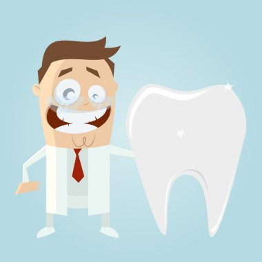 Funny cartoon dentist with big tooth