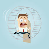 Photo Running businessman is running in hamster wheel
