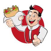 Legrační karikatura člověka v odznak slouží Döner kebab