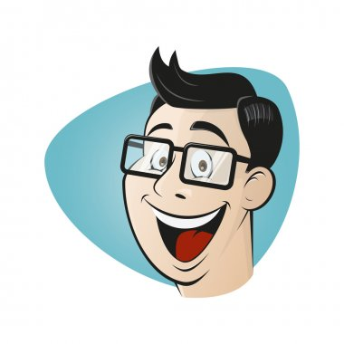 Smiling cartoon man with glasses