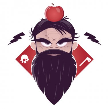 Evil man with a long beard and an apple on his head