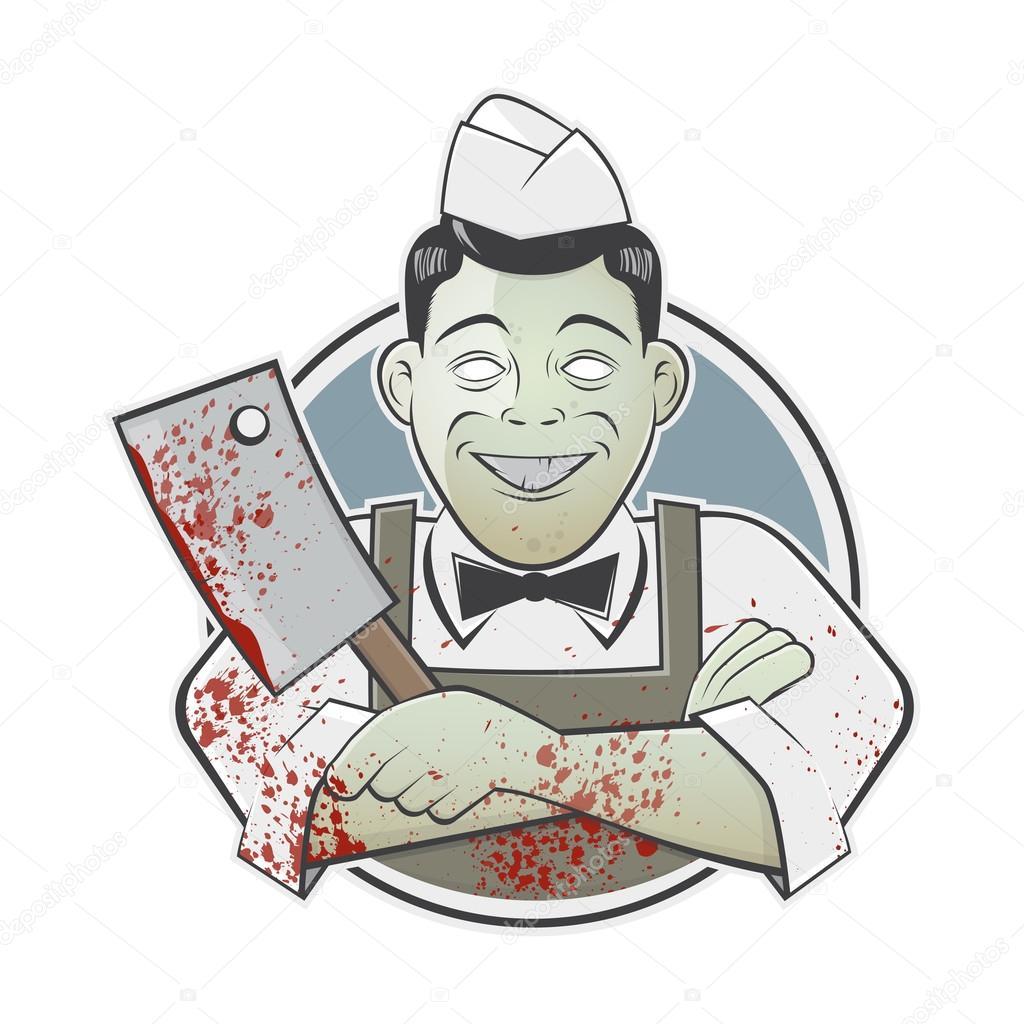 Dessin Boucher boucher de dessin animé avec le couperet sanglant dans un badge