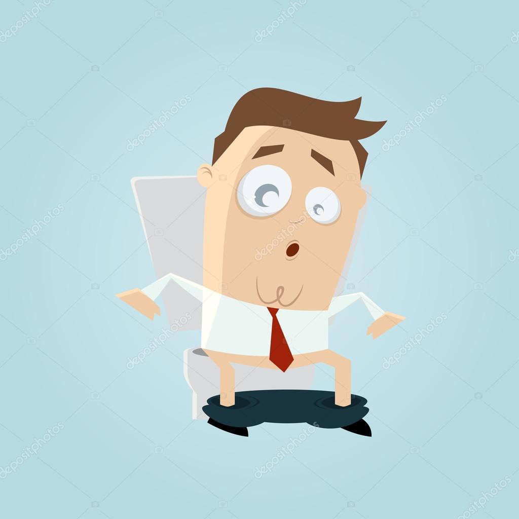 Lustige Karikatur Mann Auf Toilette Stockvektor Shockfactorde