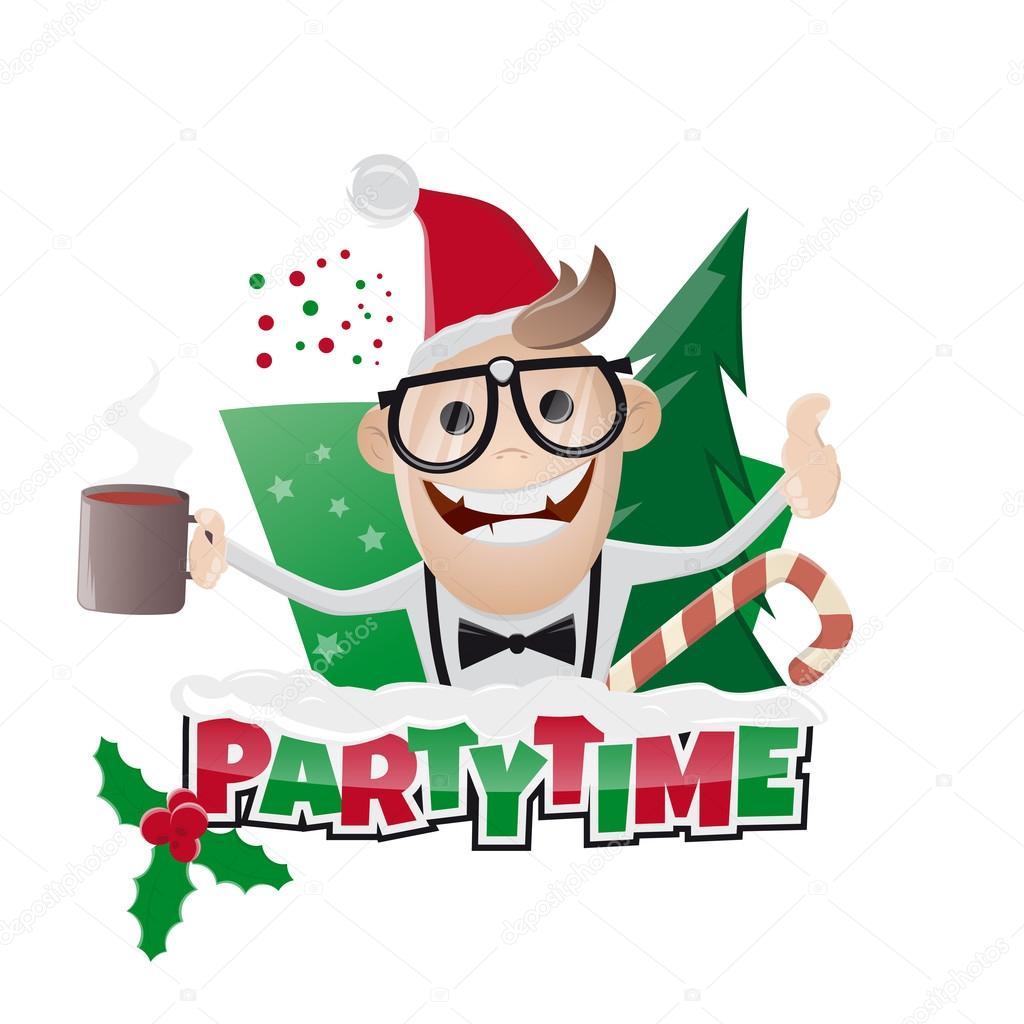 Funny christmas party man — Stock Vector © shockfactor.de ...