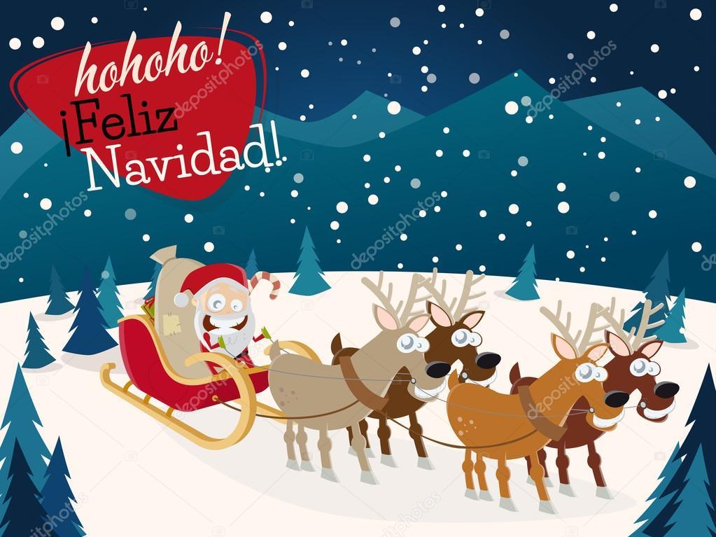 Spanish christmas greetings feliz navidad with santa claus and spanish christmas greetings feliz navidad with santa claus and reindeers stock vector m4hsunfo