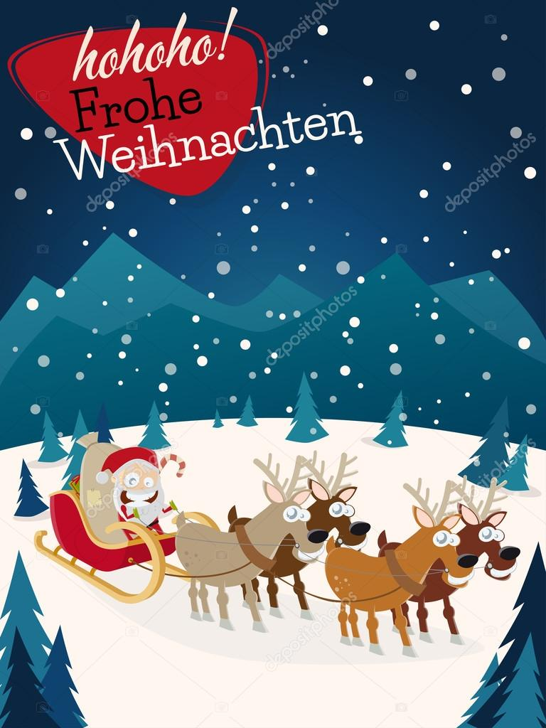 German Christmas Greetings Frohe Weihnachten With Santa Claus And