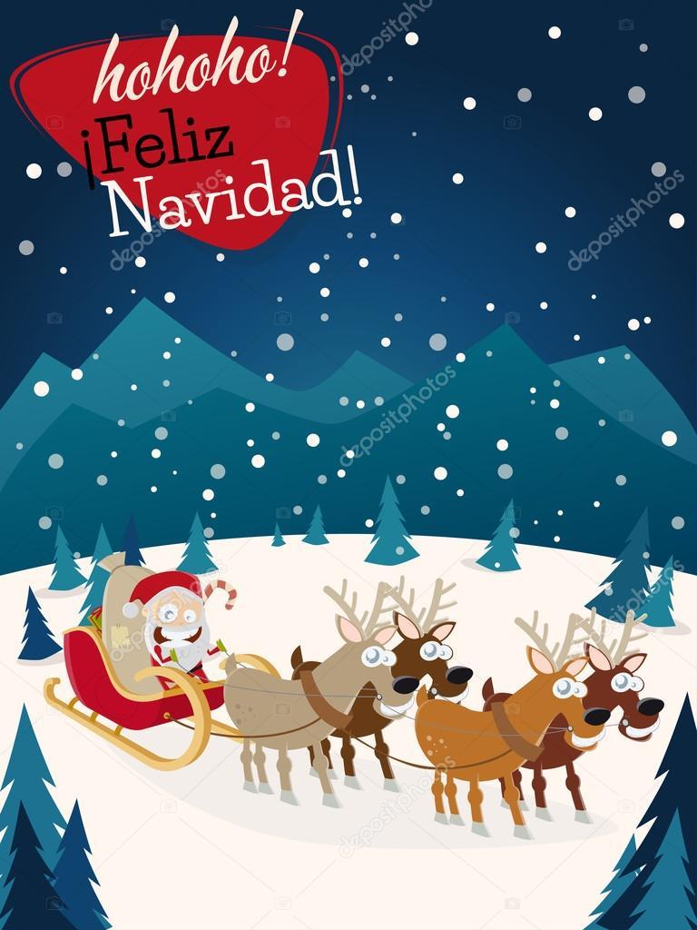Babbo Natale In Spagnolo.Fotografie Feliz Navidad Con Babbo Natale Spagnolo Navidad